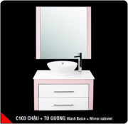 Wash Basin + Cabinet + Mirror